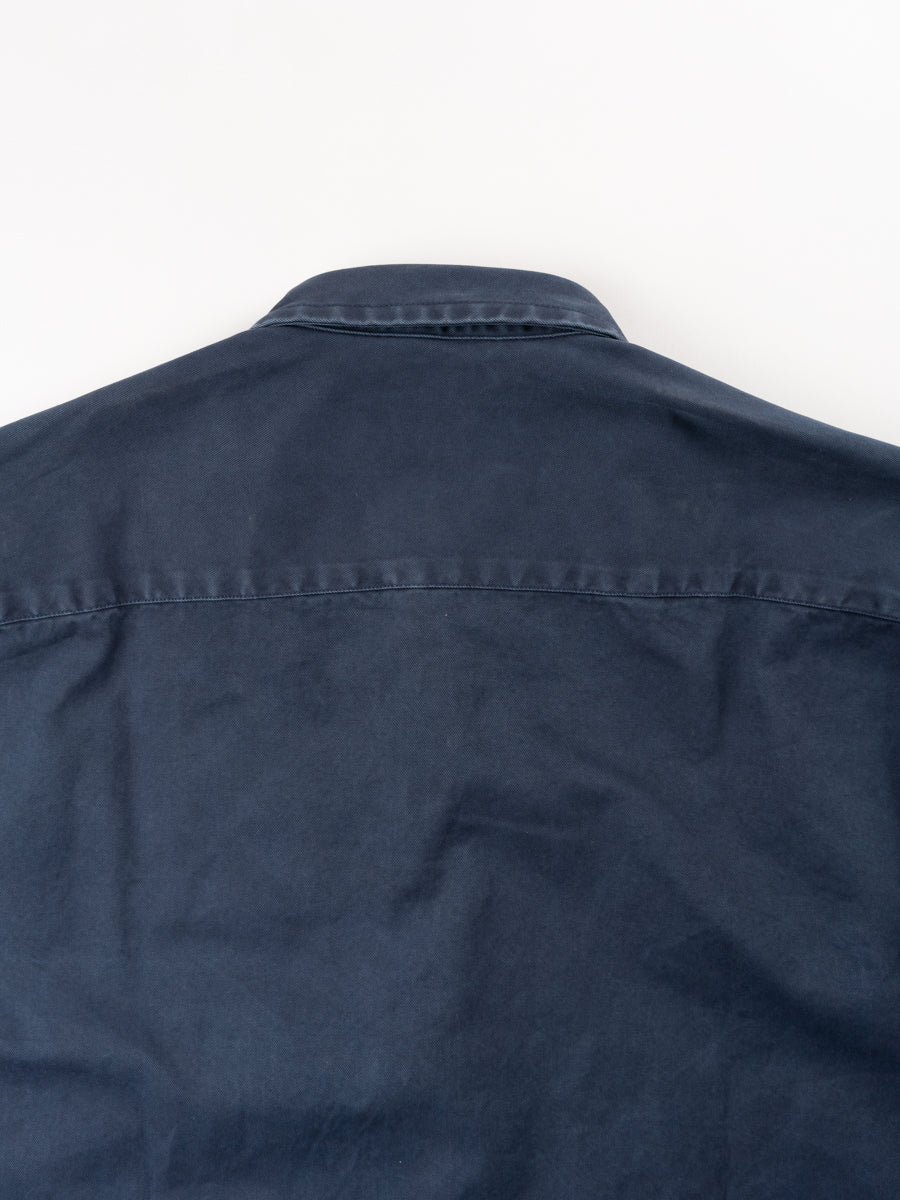 Overshirt overdyed one, dark blue, shcnayderman's. back collar detail