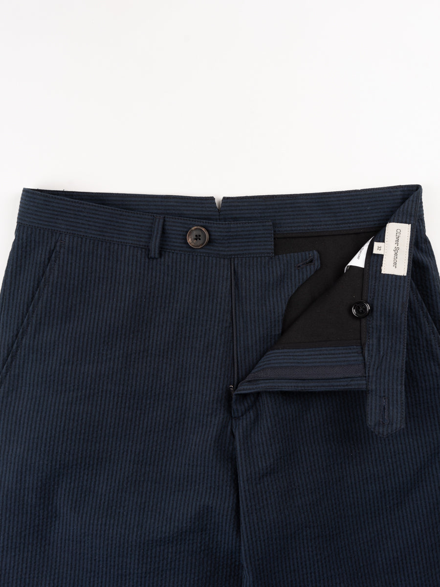 fishtail trouser, vyne navy, oliver spencer, button and fly closure