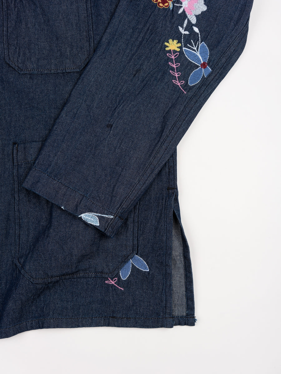 Dayton Shirt Indigo Denim Floral Embroidery