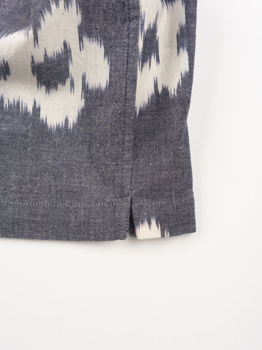road shirt, grey, ikat flower, universal works, split hem detail