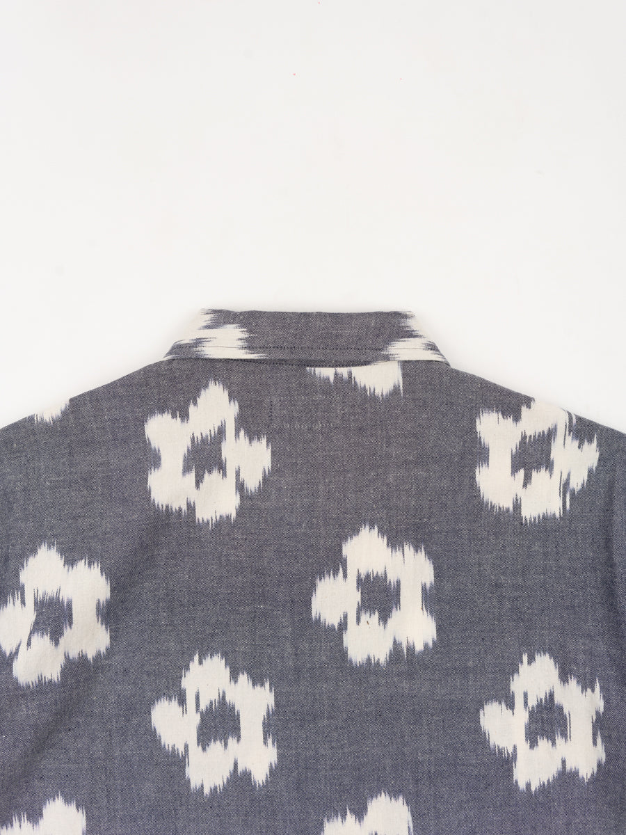 road shirt, grey, ikat flower, universal works, back view collar