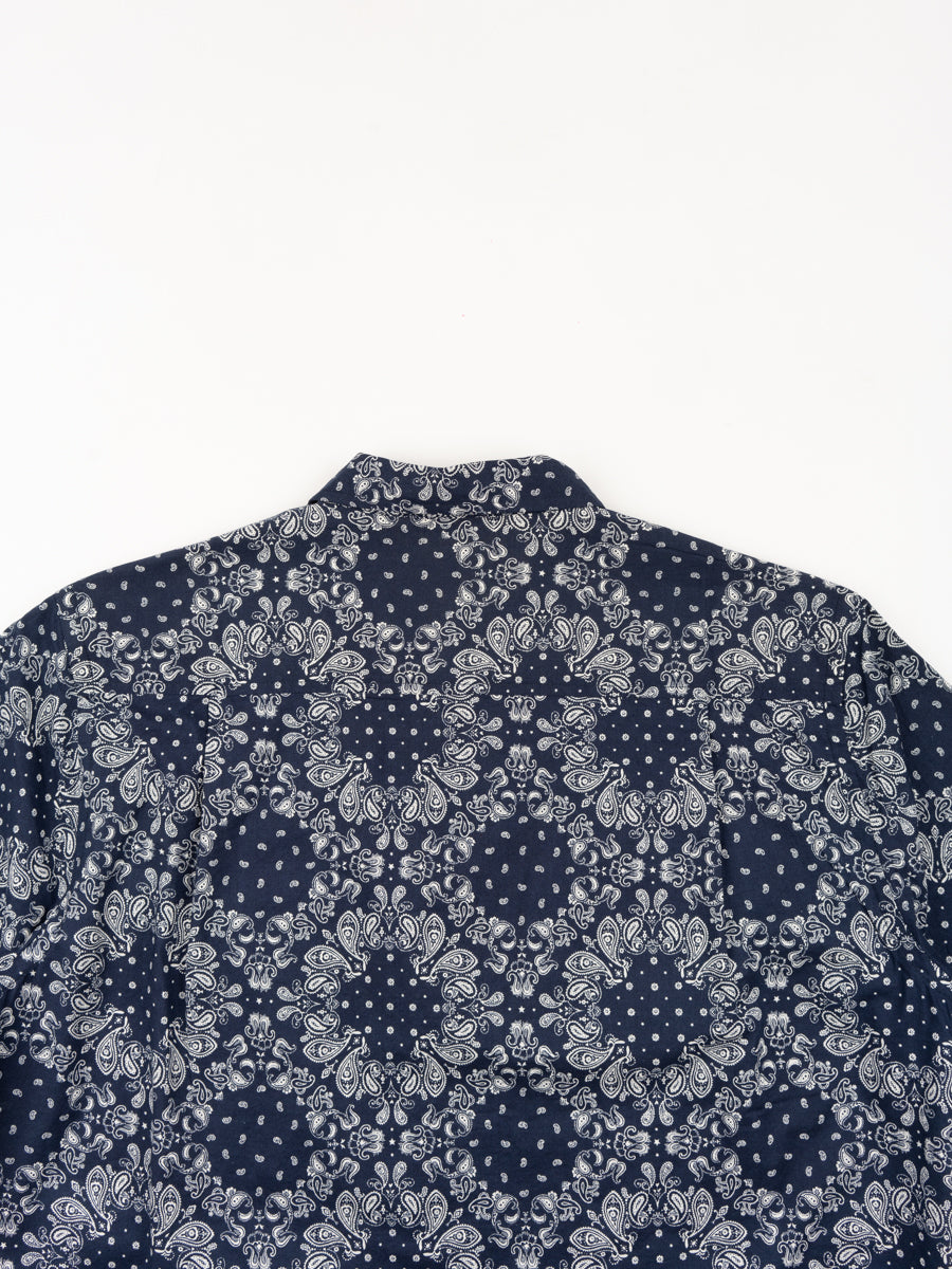 utility shirt, short sleeve, navy, bandana cotton, universal works, back view