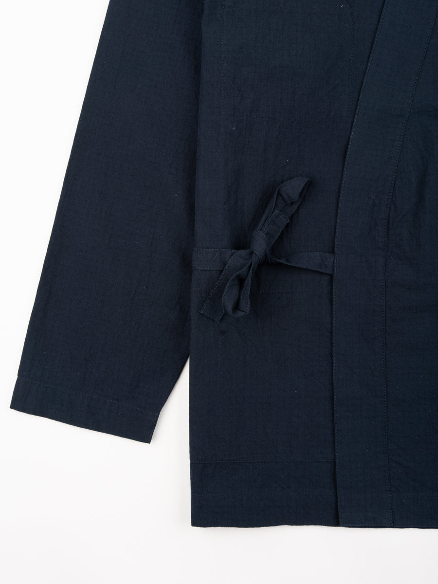 kyoto work jacket, navy, ripstop cotton, universal works, tie closure detail