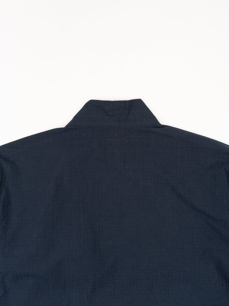 kyoto work jacket, navy, ripstop cotton, universal works, back collar view