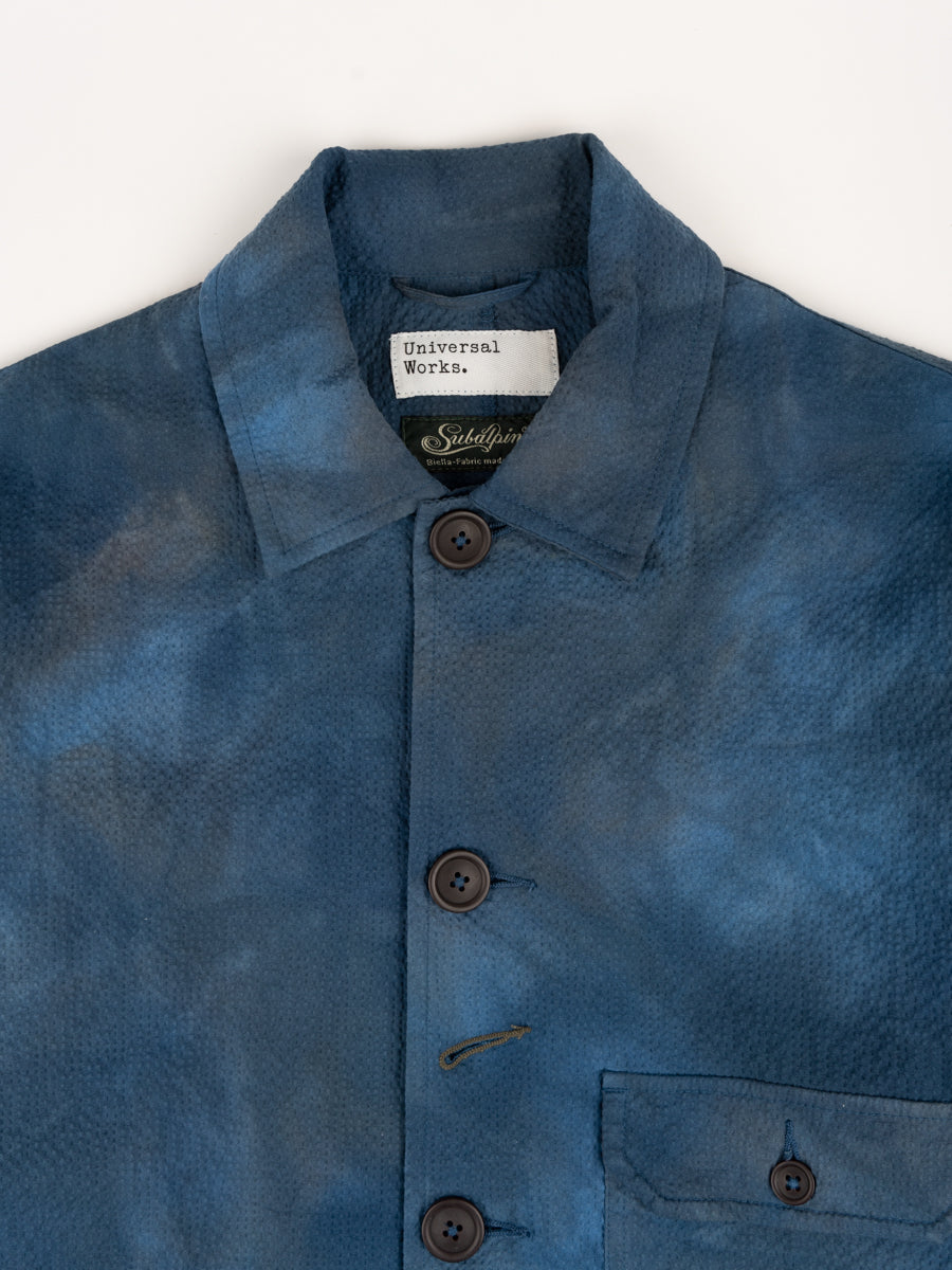 norfolk bakers jacket, blue, space dye, universal works, collar detail