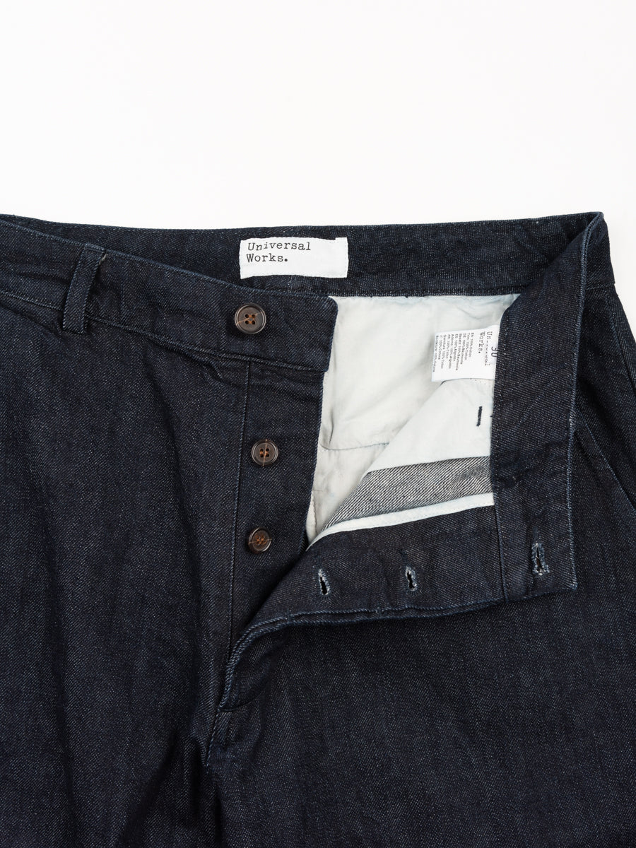 military chino, selvedge denim, indigo, universal works, front view, button fly