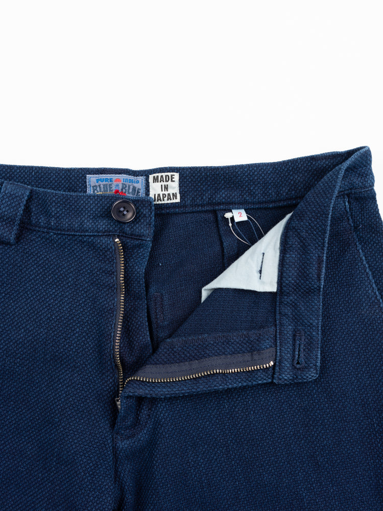 sashiko, knee patch farmers pants, pure indigo, blue blue japan, open waistband detail