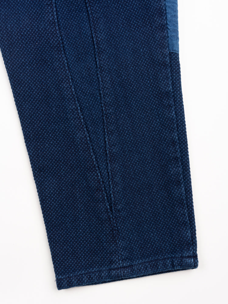 sashiko, knee patch farmers pants, pure indigo, blue blue japan, leg opening