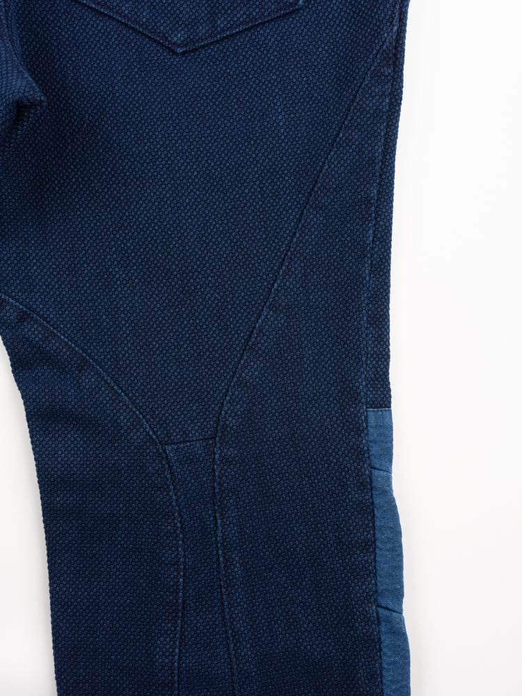 sashiko, knee patch farmers pants, pure indigo, blue blue japan, tailoring details