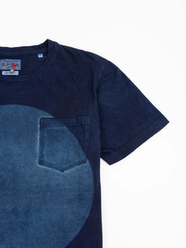 hand dyed, big circle, cotton tee, short sleeve, indigo, blue blue japan, pocket