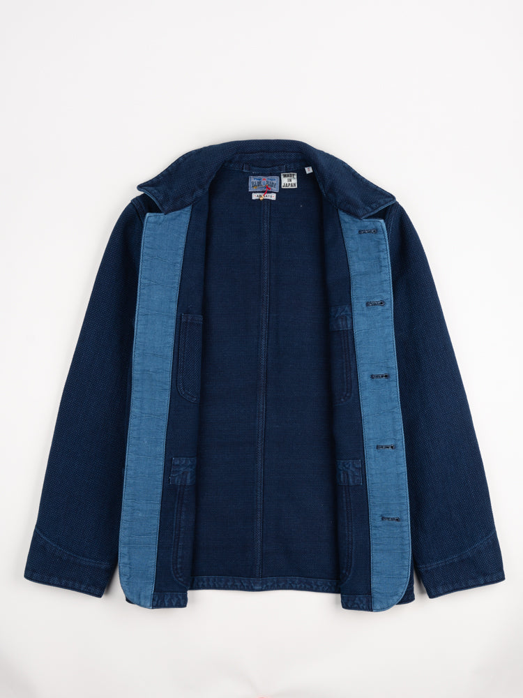 pure indigo, sashiko, used washed, coverall jacket, blue blue japan, interior detail