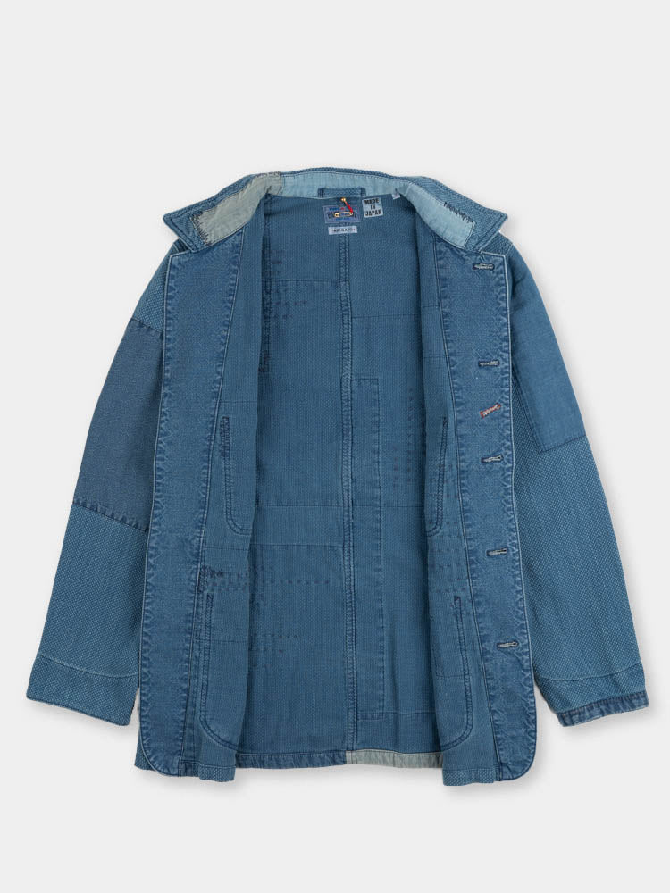 indigo yard dyed, sashiko, blue patchwork, coverall jacket, blue blue japan, open