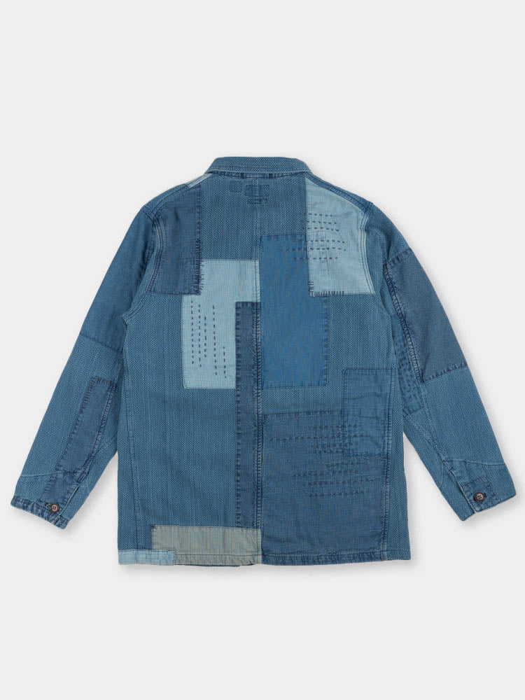 indigo yard dyed, sashiko, blue patchwork, coverall jacket, blue blue japan, back view