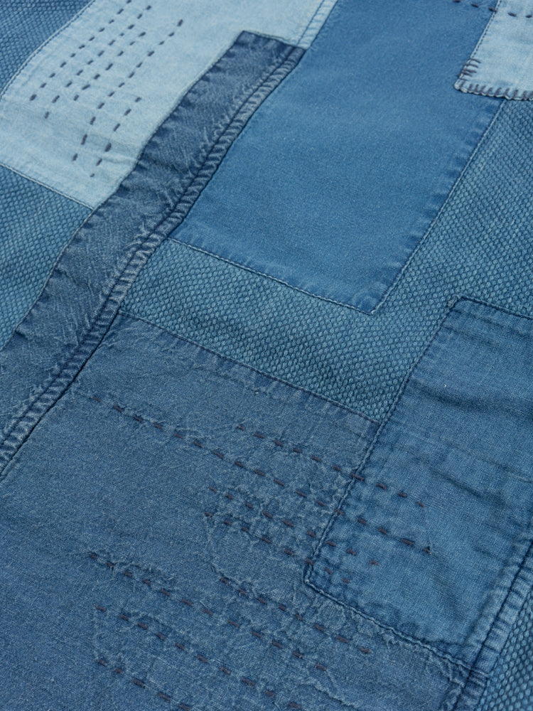 Indigo Yarn Dyed Sashiko Blue Patchwork Coverall Jacket