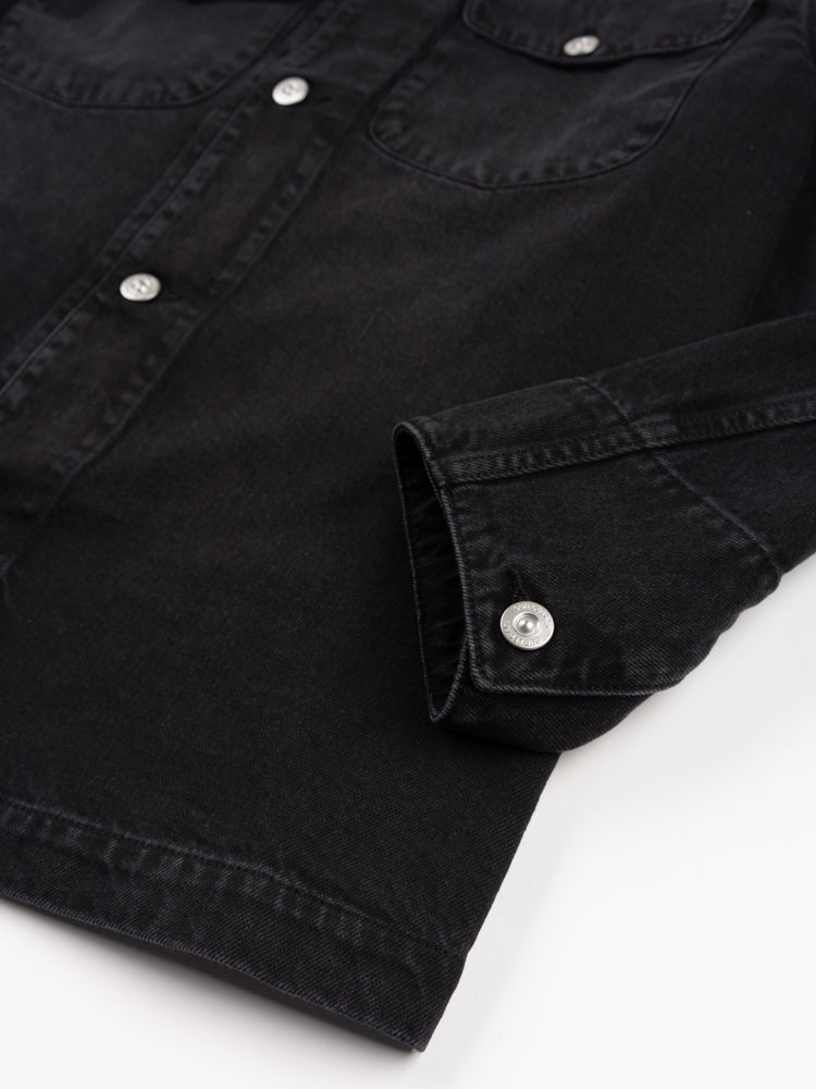 new work jacket, coal cotton, our legacy, cuff button detail