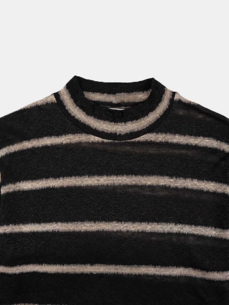 artist polo, black and beige, stripe, our legacy, collar