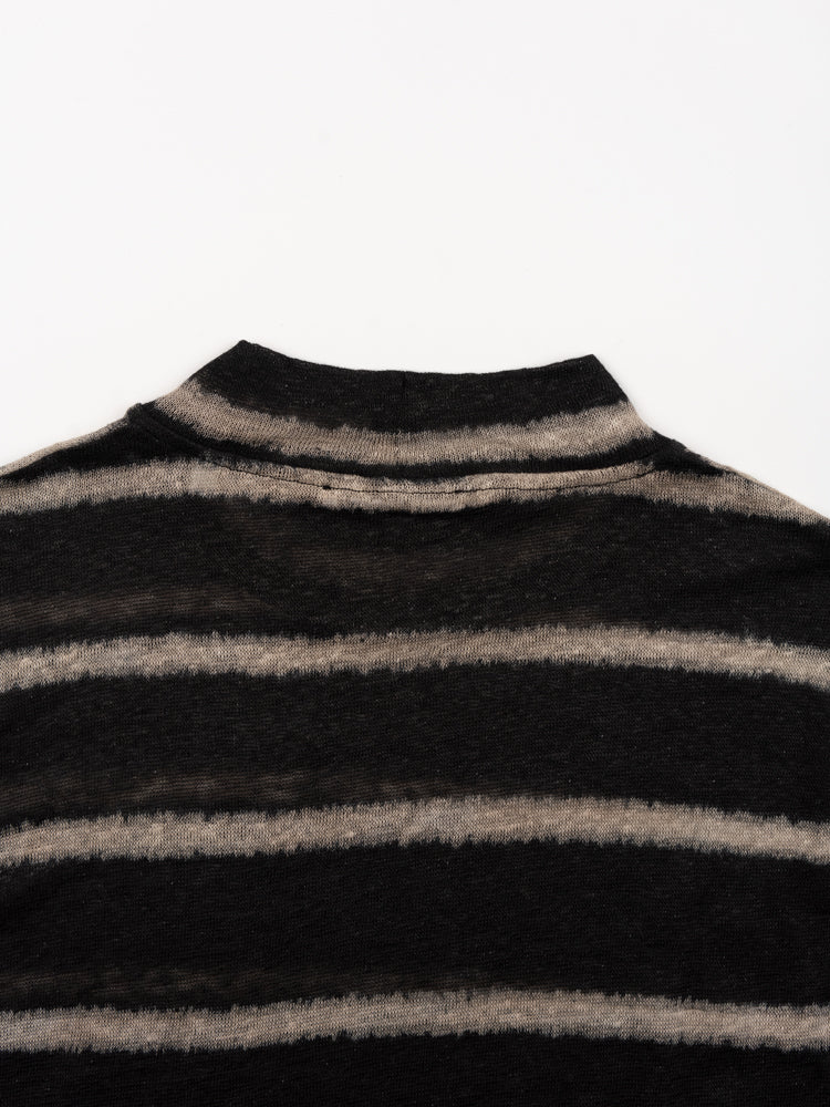 Artist Polo Black Beige Stripe
