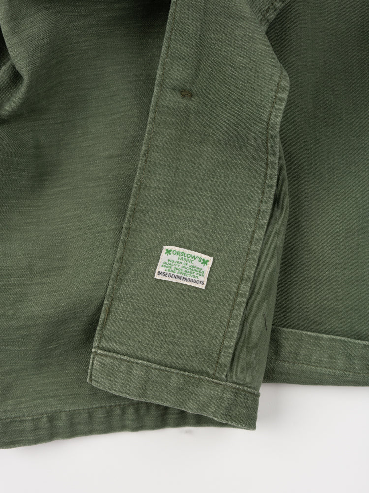 us army jacket, three quarter sleeve, green used, orslow , interior brand tag