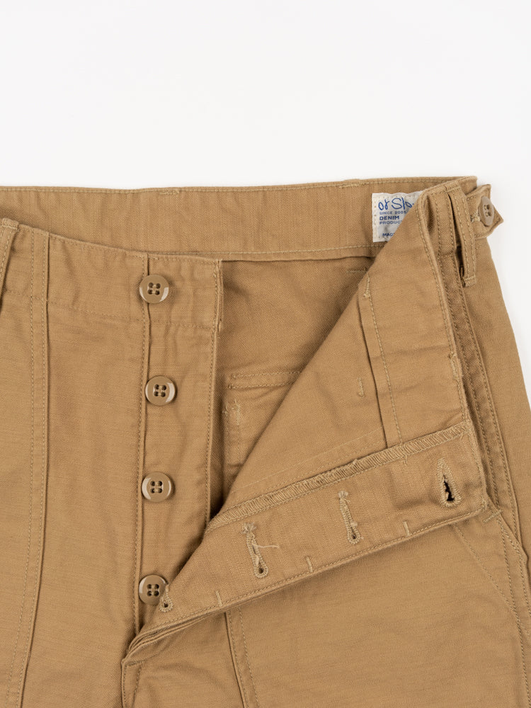 us army fatigue pants, khaki, orslow, button closure