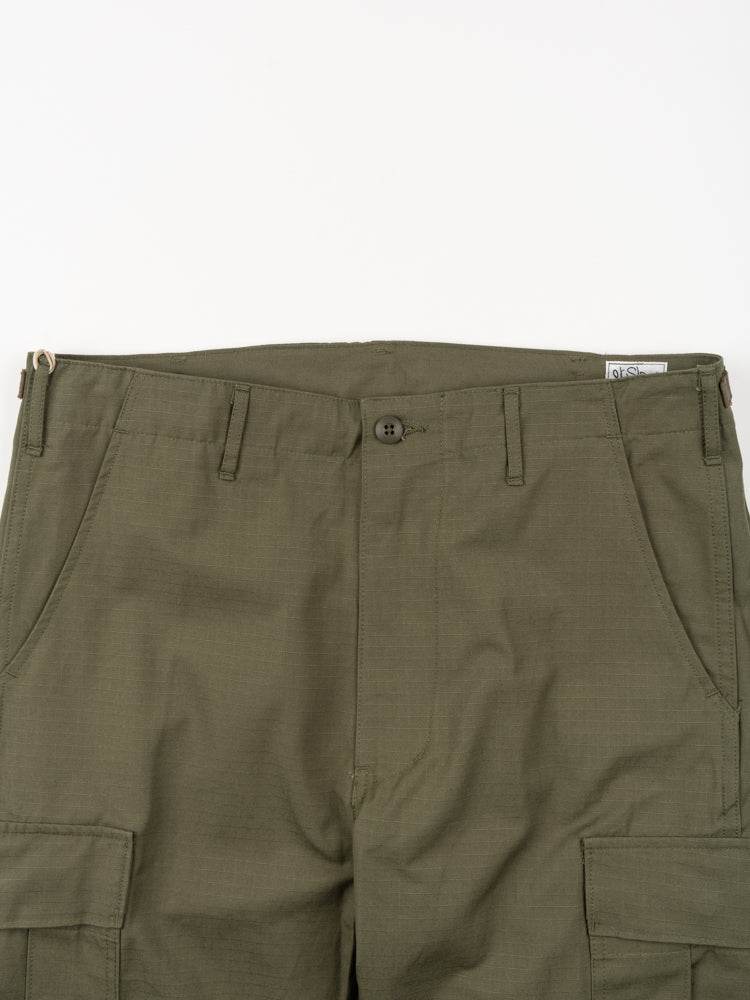 slim fit, 6 pocket cargo pants, army green, orslow, waist band