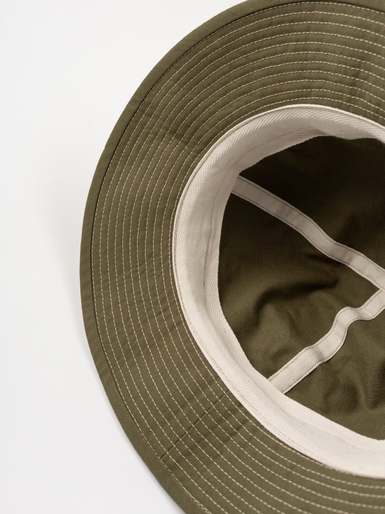 us navy hat, green, orslow, inside view