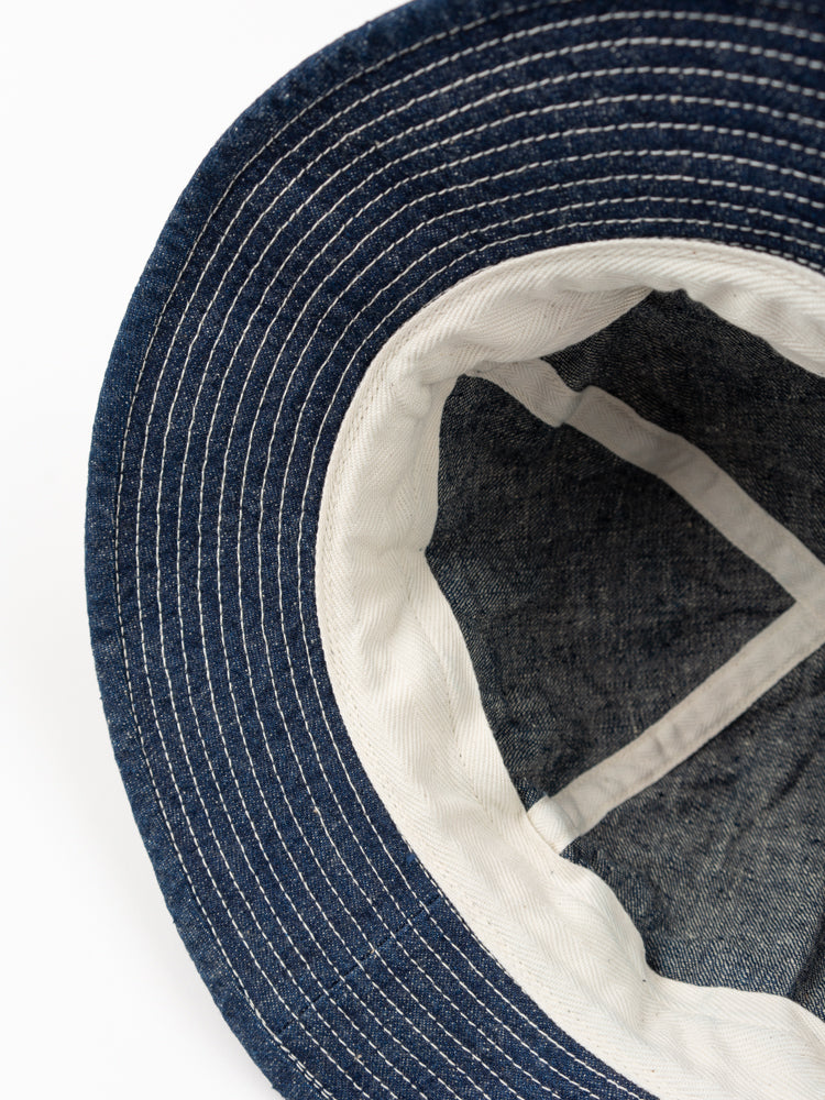 us navy hat, denim, one wash, orslow, interior view
