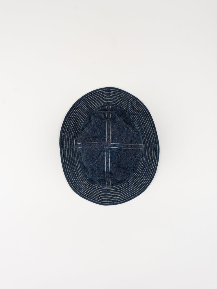 us navy hat, one wash denim, top view