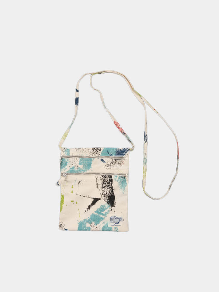 sacoche bag, multi colour, print, orslow, full view with long strap
