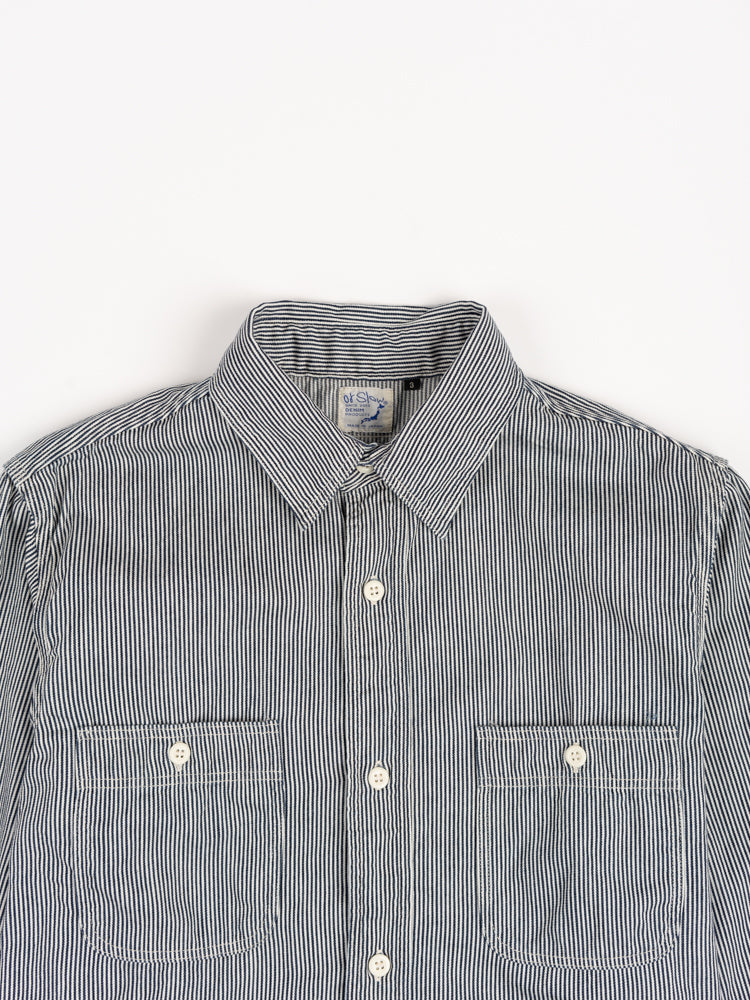 work shirt, hickory stripe, orslow, collar and front pockets