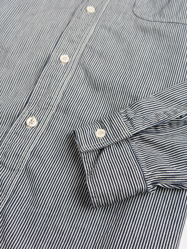 work shirt, hickory stripe, orslow, cuff detail