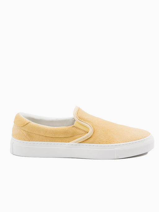mens leather slip on shoe, yellow suede, luxury skate style - Diemme