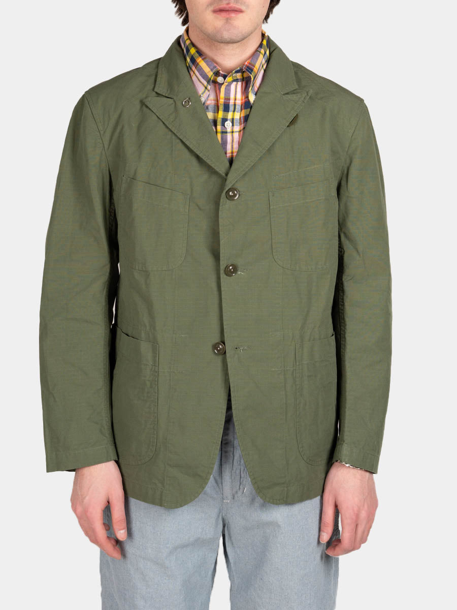 bedford jacket, olive, cotton ripstop, engineered garments, on model front view