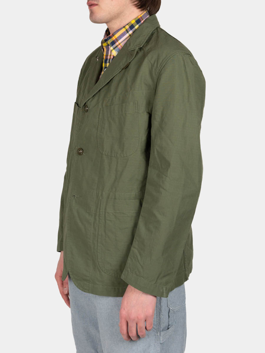 bedford jacket, olive, cotton ripstop, engineered garments, on model side view