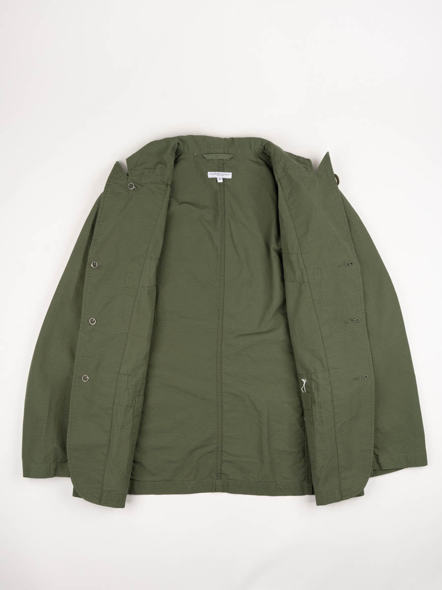 bedford jacket, olive, cotton ripstop, engineered garments, inside view