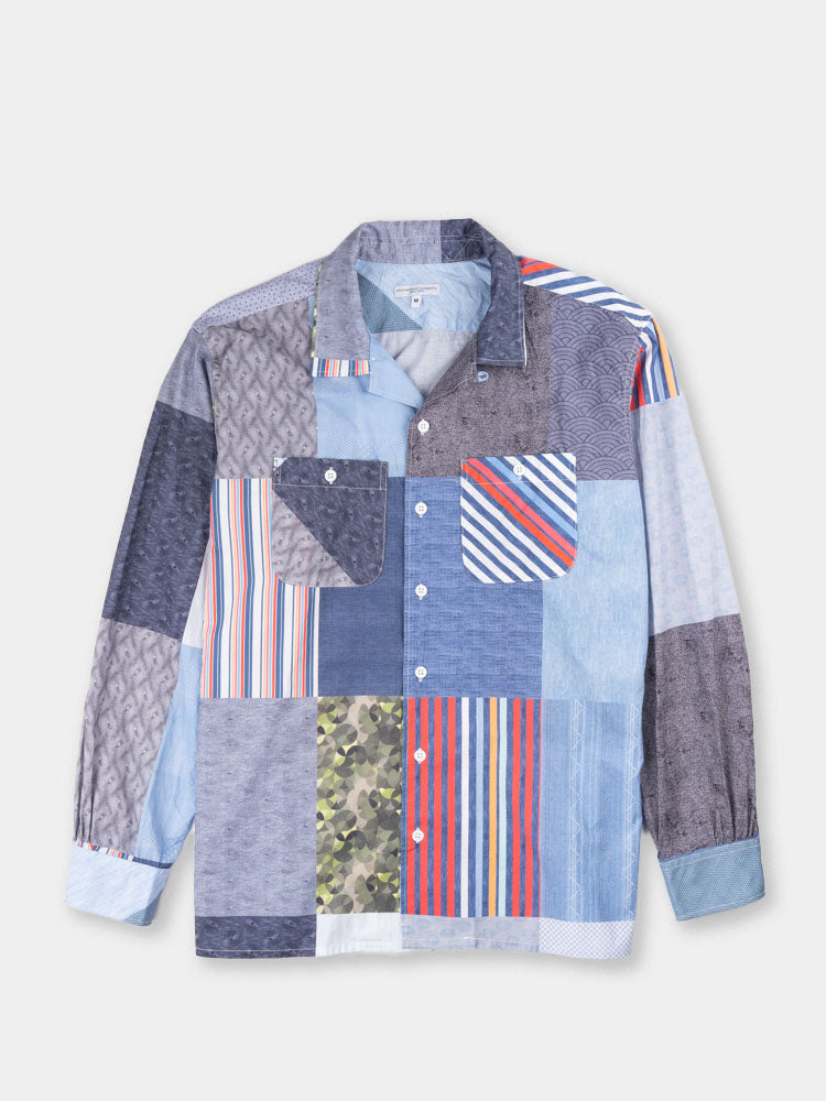 classic shirt, multi pattern patchwork, engineered garments