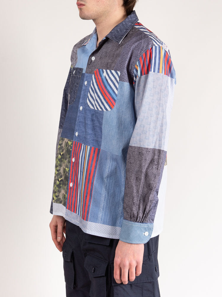 classic shirt, multi pattern patchwork, engineered garments, on model side view