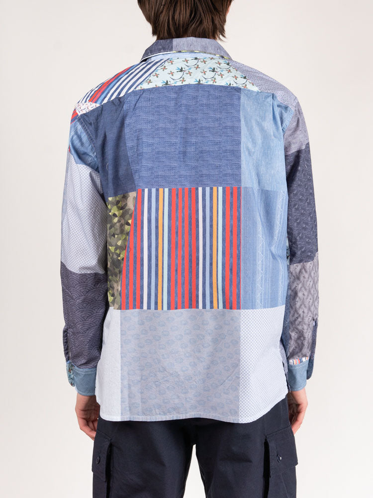 classic shirt, multi pattern patchwork, engineered garments, on model back view