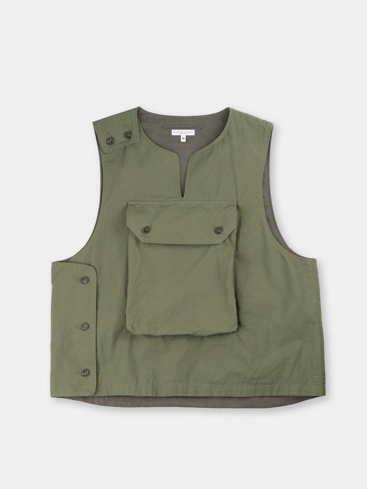 cover vest, olive, cotton ripstop, engineered garments