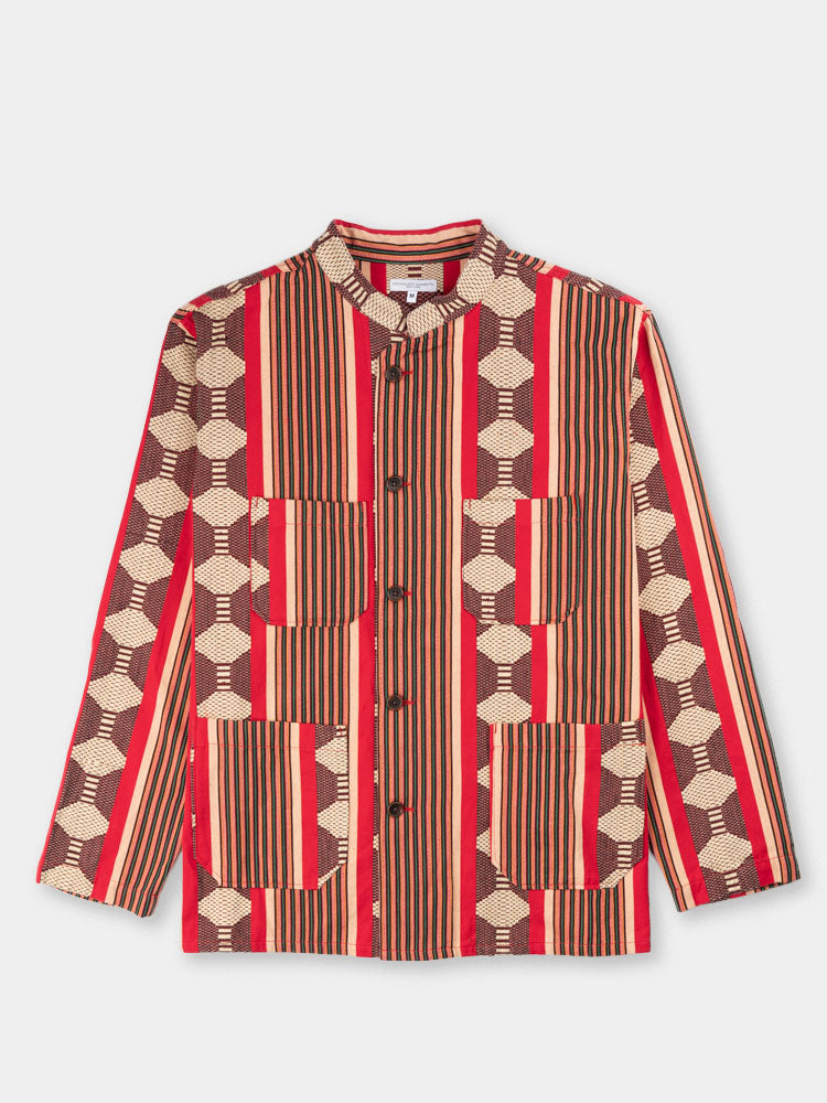 dayton shirt, red ethnic stripe, jacquard, engineered garments