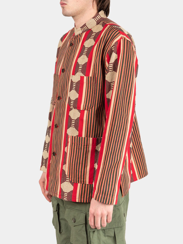 Dayton Shirt Red Ethnic Jacquard Stripe