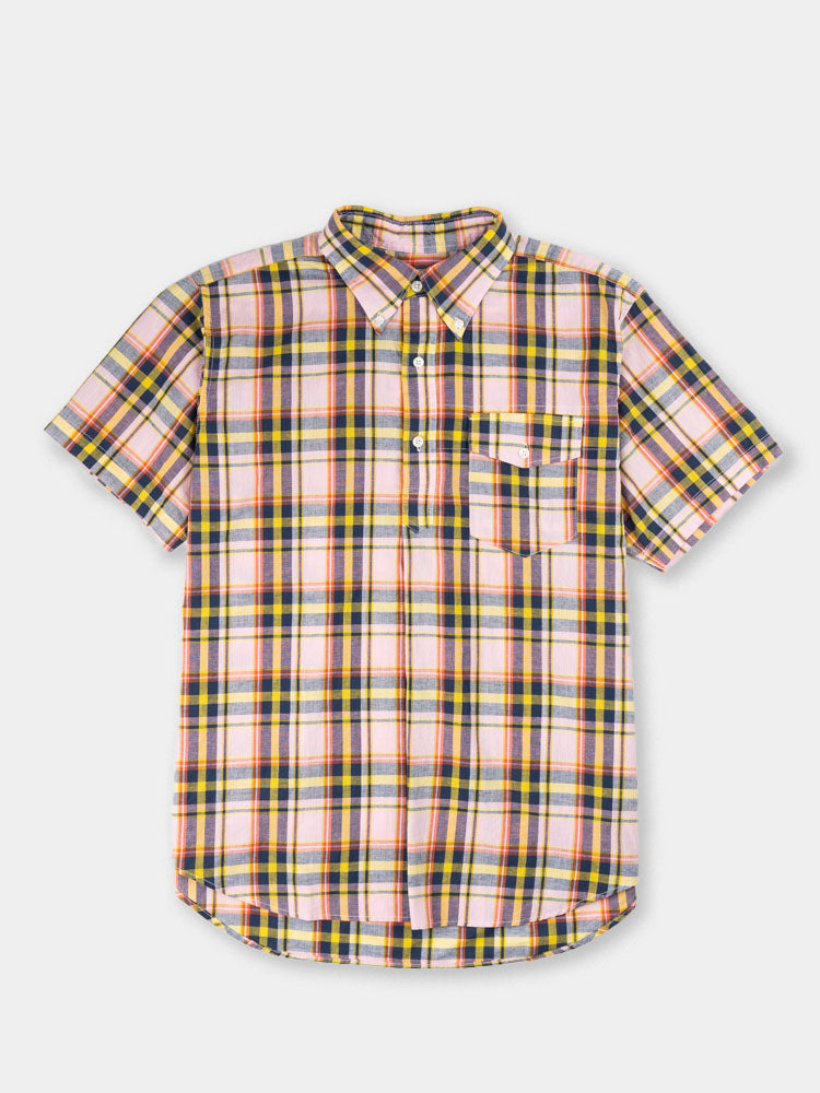 popover BD shirt, pink and yellow madras, plaid, engineered garments