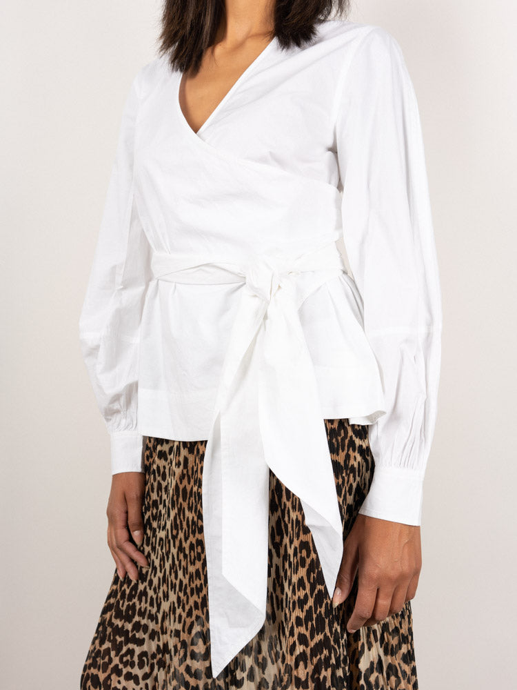 Cotton poplin wrap shirt, white, bow detail