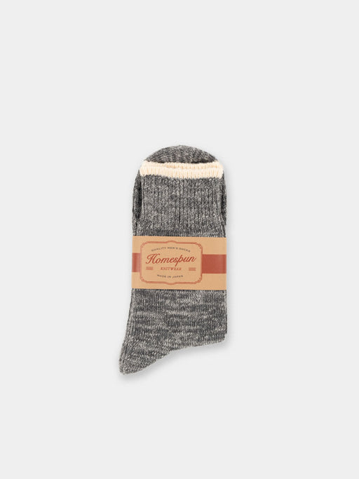 mens socks, charcoal, heavy weight, made in japan, homespun