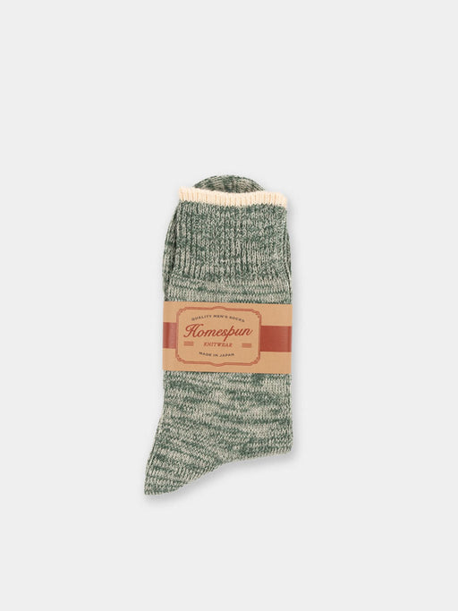 mens sock, top stripe sock, spruce green, homespun