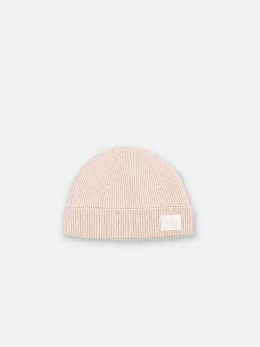 revision, beanie, ribbed, ecru, kloke, front view