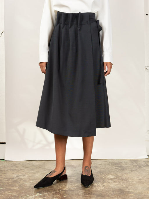 Asymmetric Wrap Front Skirt Black
