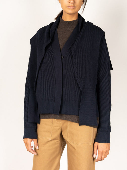 Cardigan and Muffler Set Navy