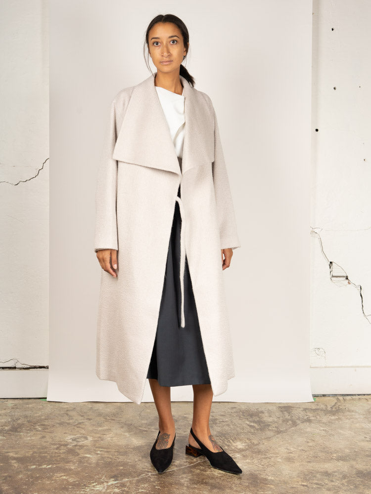 Wide Collar Coat White