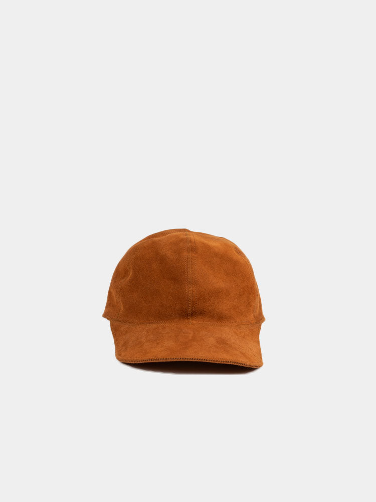 suede hat, ochre, rust, lady white