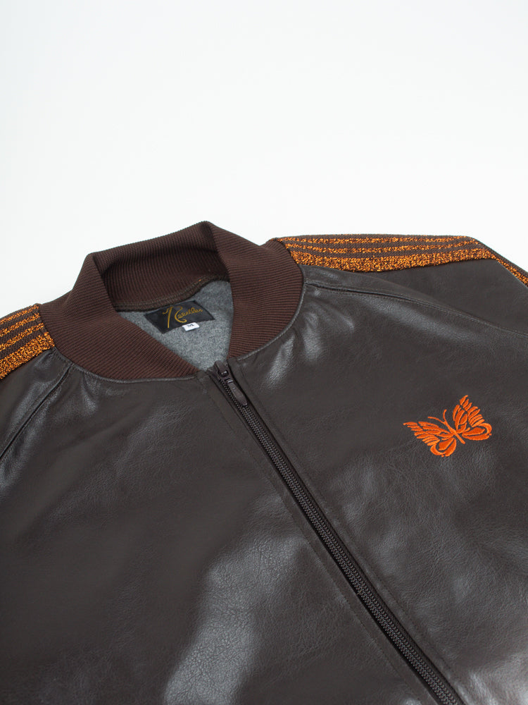 Rib Collar Track Jacket Synthetic Leather Brown